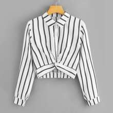Promo Offer ROMWE Womens Tops and Blouses Long Sleeve Ladies Casual Crop Top Half Placket Female Shirts Summer Twist Front Striped Blouse Cheap Blouses, Shirt Blouses, Ladies Blouses, Crop Top Outfits, Long Blouse, Women's Dresses, Romwe, Blouse Designs, Fashion Outfits