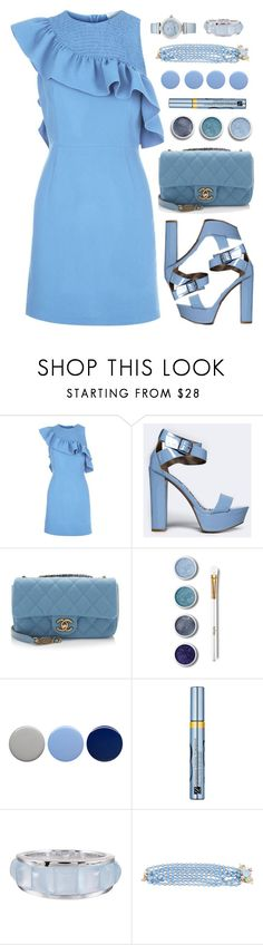 """""""Ruffle Dress"""" by amchavesj-1 ❤ liked on Polyvore featuring Sandro, Qupid, Chanel, Terre Mère, Burberry, Estée Lauder, Seaman Schepps, OMEGA and ruffle"""