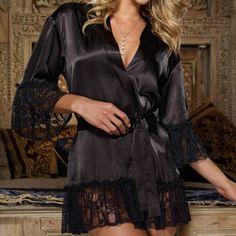 Nuevo 2016 Mujeres Sexy V Cuello de Raso Vestido Con Tirantes Camisón de Encaje Ropa de Noche Negro Babydoll chemise Camisón de nuit Z2