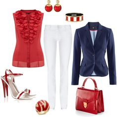 """""""Red White & Blue"""" by mkimlin on Polyvore"""