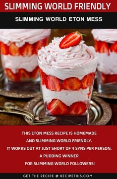 Welcome to my Slimming World Eton Mess Recipe. Enjoy a delicious Slimming World take on Eton Mess. Loaded with extra fresh strawberries… Slimming World Eton Mess, Slimming World Deserts, Slimming World Puddings, Slimming World Dinners, Slimming World Breakfast, Slimming World Recipes Syn Free, Slimming Eats, Slimming World Cookies, Slimming World Biscuits