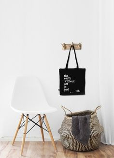 "Organic Cotton Black Tote Bag ''The earth without art is just eh"" Quote Black&White Typography Letters Design Screen Silk Print"