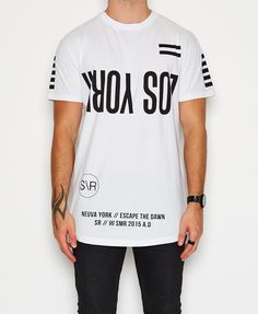 Sushi Radio / Escape Los York Big Fit T-Shirt White T-Shirts Tops Men | Neverland Store