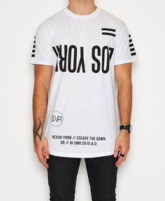 Sushi Radio / Escape Los York Big Fit T-Shirt White T-Shirts Tops Men | Neverland Store