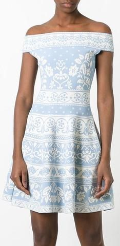 Floral Knit Jacquard Off-Shoulder Dress, Light Blue