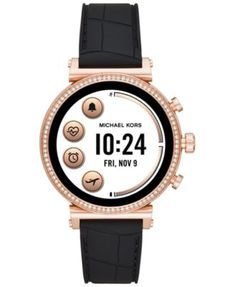 a559eeae3ae9 Michael Kors Access Women s Sofie Heart Rate Embossed Black Silicone Strap Touchscreen  Smart Watch 41mm -