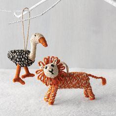 Feline & Fowl Ornaments Whimsical lion and goose ornaments are sure to delight. Hand-braided jute. #FairTrade #Uniqueornaments #Holidaydecor www.serrv.org