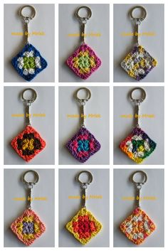 """Crochet Granny Square Ideas made by Mriek: Granny keychains--no instructions here, but looks very hackable--key chain findings from craft store, embroidery thread as """"yarn"""", small hook Appliques Au Crochet, Crochet Motifs, Crochet Squares, Crochet Granny, Crochet Patterns, Granny Squares, Love Crochet, Crochet Gifts, Diy Crochet"""