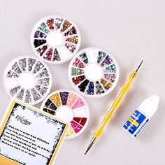 SODIALR100pcs Gold Color  100 pcs Silver Color Striping Tape Metallic Yarn Line Nail Art Decoration Sticker >>> Details can be found by clicking on the image.