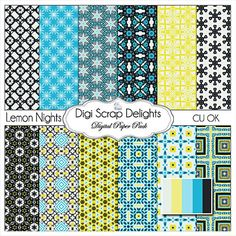 Buy 2 Get 1 Free Lemon Nights Digital Scrapbook by heartofwisdom, $3.00 #aqua #black #yellow
