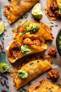 Crispy Cauliflower Tinga Tacos with Honey Lime Avocado Crema | halfbakedharvest.com Mexican Food Recipes, Vegetarian Recipes, Dinner Recipes, Cooking Recipes, Healthy Recipes, Ethnic Recipes, Vegetarian Tapas, What's Cooking, Pollo Tandoori