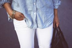 white jeans + denim button down
