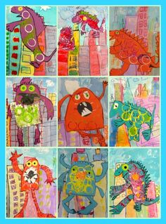 Monster Creations-Inspired by Barbara Jean Hicks' book Monsters Don't Eat Broccoli. The skyscraper background is crayon resist with watercolors. The monsters are drawn with crayon/oil pastel and stamped with toilet paper rolls. Cut out the monsters and glue them onto the skyscraper background.