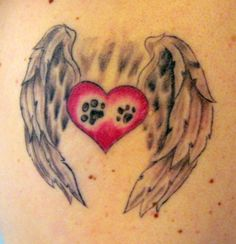 dog angels | 30 Lovely Heart With Wings Tattoo Designs | CreativeFan