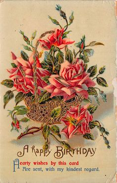 Birthday greetings bouquet of flowers images pinterest olive tree genealogy blog rescued postcards 1900 m4hsunfo