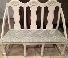 We had four chairs that were begging to become a bench, but we just couldn't figure out how to accomplish that without the bench having a curve. Upscale Furniture, Furniture Fix, Repurposed Furniture, Furniture Projects, Furniture Makeover, Painted Furniture, Diy Projects, Building Furniture, Wooden Projects