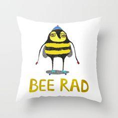 Bee Rad Cushion by Ashley Percival. #cushion #home #illustration #illustrator #bee #design #kids #room