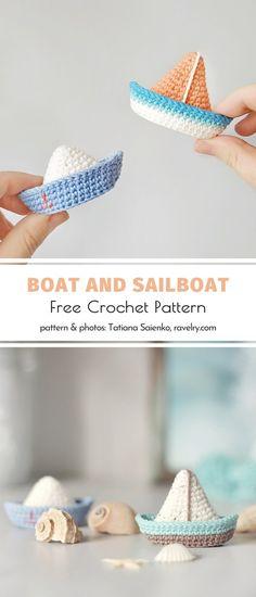 Boat and Sailboat Free Crochet Pattern - Amigurumi Crochet Pattern Free, Crochet Boat, Crochet Gratis, Crochet Patterns Amigurumi, Cute Crochet, Crochet Motif, Easy Crochet, Crochet Hooks, Crochet Vests