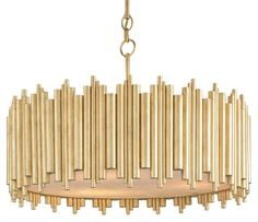 CURREY & COMPANY - Imogen Chandelier - This retro-modern chandelier is glamorous yet simple. A frame is forged from a series of wrought iron tubes and finished in a bright Contemporary Gold Leaf while, underneath the fixture, a marbled diffuser softens the glowing light that emits from this exquisite chandelier