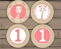 Sophie the Giraffe Cupcake Toppers Favor Tags Party printables Stickers First Birthday Boy Girl Instant download Digital Printable DIY