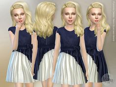 Navy Blue and White Pleated Dress by lillka at TSR via Sims 4 Updates