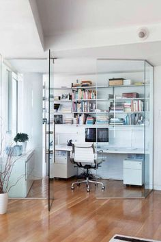 """Today we are here with a collection of 15 unique and fresh home office design ideas. Checkout Fresh Home Office Design Ideas"""" and get inspired. Home Office Space, Home Office Design, House Design, Small Office, Corner Office, White Office, Office Designs, Garden Design, Mini Office"""