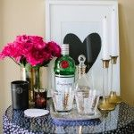 side table bar. and the framed heart--gold leaf? and antique candle holders