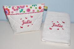 Box cadeau:Trousse de toilette + serviette papillons personnalisées brodée pour naissance,anniversaire,noel : Puériculture par lbm-creation