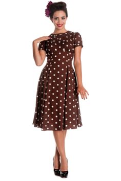 Buy Hellbunny Madden Spotty Brown and White dress at Campbell/Crafts Vintage