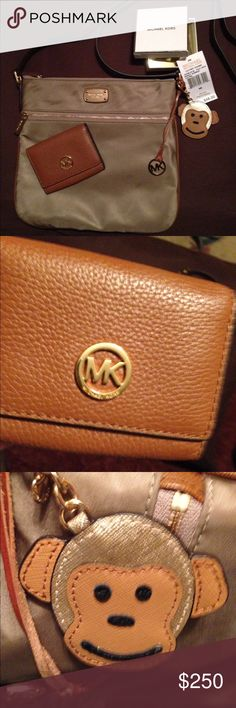 """EEUC* Authentic MICHAEL KORS* """"BUNDLE DEAL""""❤️ EXCEPTIONALLY EXCELLENT CONDITION!!!! Carried only on a trip to Texas! Bundle includes: •Authentic MICHAEL KORS* tan khaki sateen & honey saffiano leather good size cross body bag, •Honey pebbled leather M wallet, •NWT* Matching """"MONKEY BUSINESS"""" leather Authentic MK charm/fob/key ring & •authentic MICHAEL KORS* """"SEXY AMBER"""" cologne/lipgloss duo!!!BEAUTIFUL SET & GREAT DEAL!!! Does NOT have dust/storage bag. Cross body bag was $148, wallet was…"""
