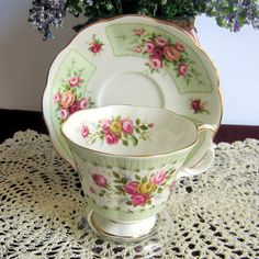 Royal Albert TRENT from the Rosedale Series Pink Roses with Green Panels Bone China Tea Cup and Saucer by LauriesFineChina on Etsy