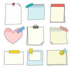 Download premium vector of Note papers doodle style vector set 553807