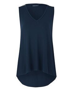 Navy Zip Detail Dipped Back Vest | Fashion World