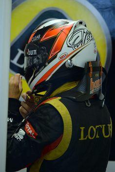 Kimi Raikkonen prepares for practice in the Lotus garage, Canadian Grand Prix, Montreal