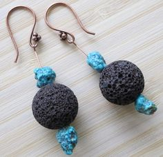 Handmade copper earrings with natural turquoises and lava http://www.greykajewellery.eu/shop/earrings/handmade-copper-earrings/