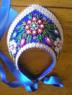"""Hungarian embroided bonnet, the """"párta"""". It was used to wear by young woman."""