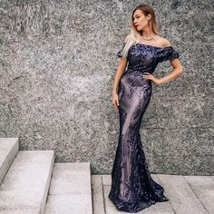 Sexy Off The Shoulder See-Through In Waist Reflective Long Dress - Power Day Sale Evening Dresses With Sleeves, Mermaid Evening Dresses, Formal Evening Dresses, Celebrity Evening Gowns, Celebrity Dresses, Dresser, Sexy Long Dress, Evening Outfits, Dress Images