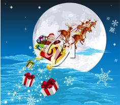 Royalty Free Clipart Image of Santa Flying His Sleigh