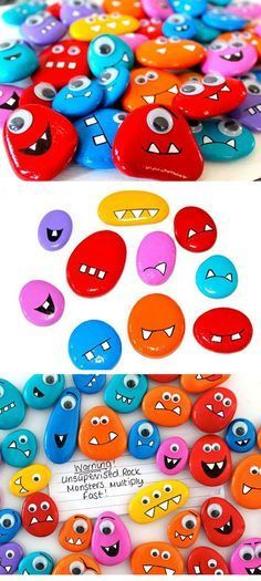 Rock Monster Magnets Click Pic for 19 DIY Summer Crafts for Kids to Make Easy Summer Activities for Kids Outside