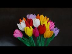 How to make beautiful paper tulip flowers / DIY Mother's day craft - YouTube