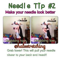 it really helps, but lol maybe u could make a tip on how to correctly get OUT of a needle. Dance Flexibility Stretches, Gymnastics Flexibility, Flexibility Workout, Flexibility Tips, Gymnastics Routines, Gymnastics Workout, Gymnastics Poses, Acrobatic Gymnastics, Cheerleading Workouts