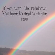 If you want the rainbow, You have to deal with the rain