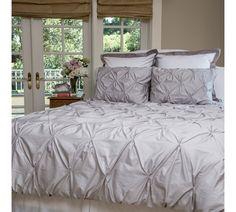The Valencia Dove Gray Pintuck Duvet Cover Set-Home and Garden Design Ideas