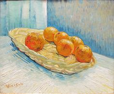 Still Life with Basket and Six Oranges - Vincent van Gogh, Arles, March 1888, oil on canvas.
