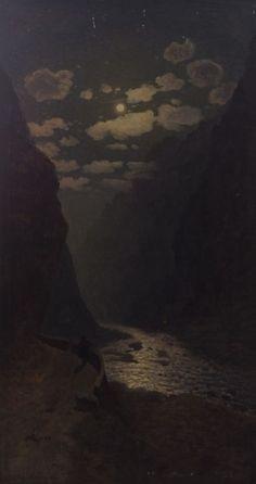 """Daryali Canyon"" by Gevorg Bashinjaghian, 1909 Nocturne, Aesthetic Art, Aesthetic Pictures, Moonlight Painting, Arte Horror, Dark Art, Art Inspo, Painting & Drawing, Landscape Paintings"