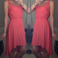 Casual Coral Hi Low (NEW!) true to size. fit dress sizes 2-4. item is brand new. Dresses