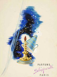Publicité Vintage - 1938 - La Maison Schiaparelli lance le Parfum 'Sleeping' dont le Flacon est une Bougie de Verre