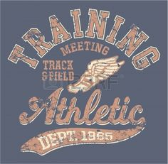 Athletic department  - vintage vector artwork for sportswear in custom colors, grunge effect in separate layer photo