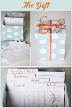 wedding shower: ask guests to fill out a recipe card with one of their favorite recipes, and bring it to the shower.  Collect them all, and put them in a cute recipe box for the bride to be. This blog is awesome!