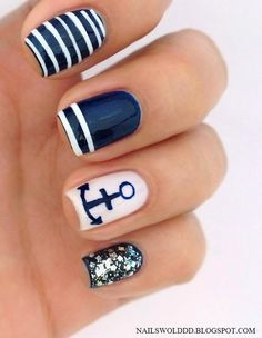 very cute sailor nails